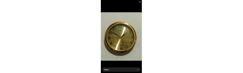 ساعت گرد طلایی صفحه تک رنگ طلایی قطر ۲۸ سانت کد 566